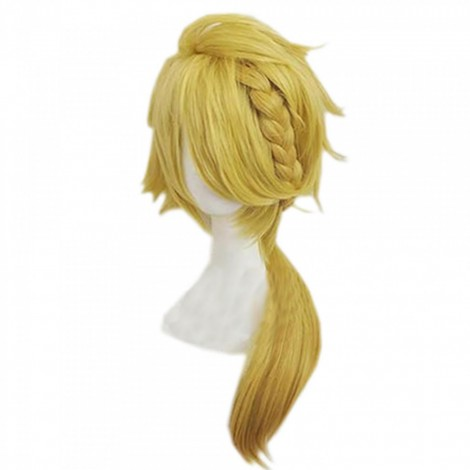 Touken Ranbu Game Shishiou Cosplay Wig Golden Anime Wig With Braid
