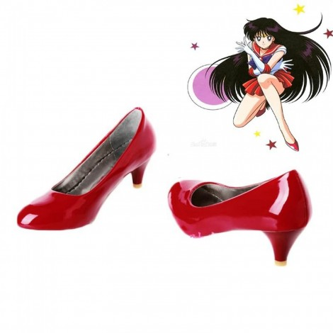 Customized Sailor Moon Hino Rei Red PU Cosplay Shoes