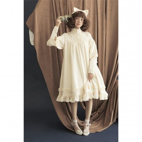 Standing Collar Long Sleeves Vintage Unicolor Babydoll Style Lolita Dress