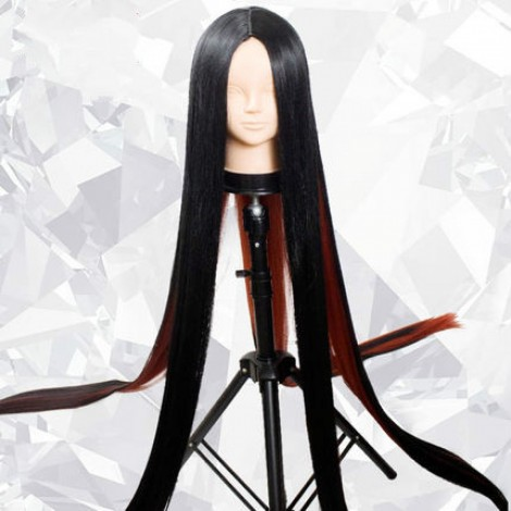 Land of the Lustrous Bort Black Red Long Straight Cosplay Hair Wig