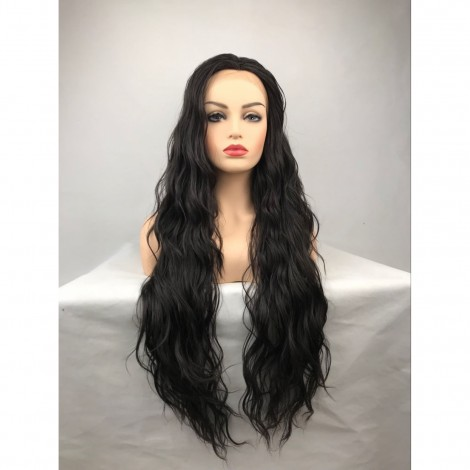 Black Long Curly Heat Resistant Fiber Lace Front Lolita Wig