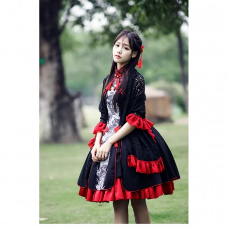 Chinese Wind Lolita Dresses Autumn and Winter Retro Style Lolita Daily Dresses Princess Cosplay Costumes