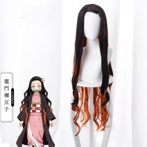 Demon Slayer Nezuko Kamado Gradient Long Curly Cosplay Wig