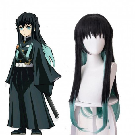 Demon Slayer Antarcticite Cosplay Wig Green Mixed Black Straight Anime Styled Wig
